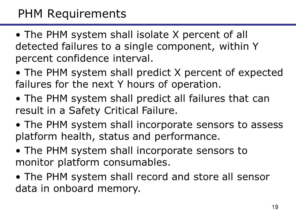 PHM Requirements The PHM system shall isolate X percent of all detected failures to a single component, within Y percent confidence interval.
