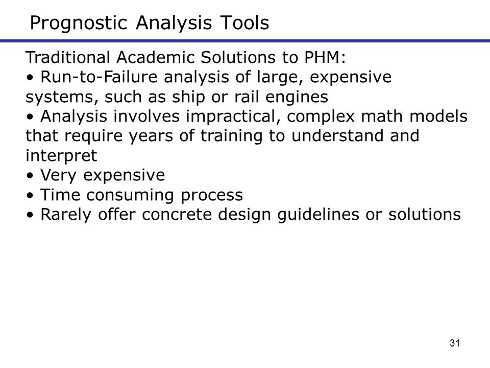Prognostic Analysis Tools