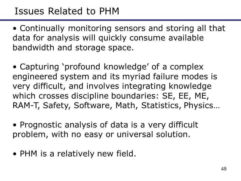 Issues Related to PHM
