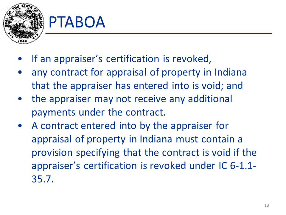 PTABOA If an appraiser's certification is revoked,
