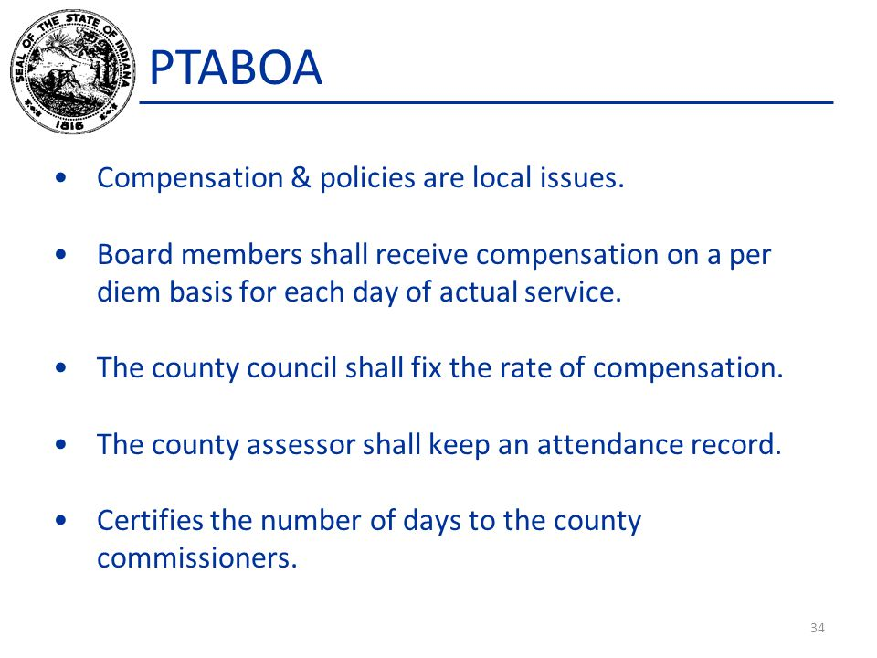 PTABOA Compensation & policies are local issues.