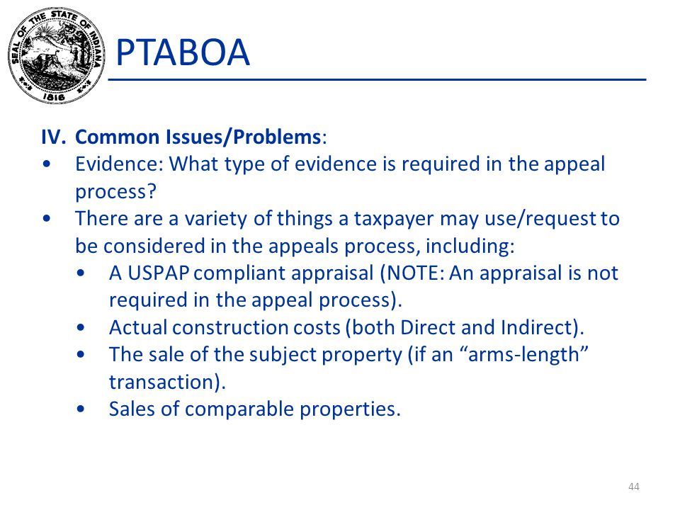 PTABOA IV. Common Issues/Problems: