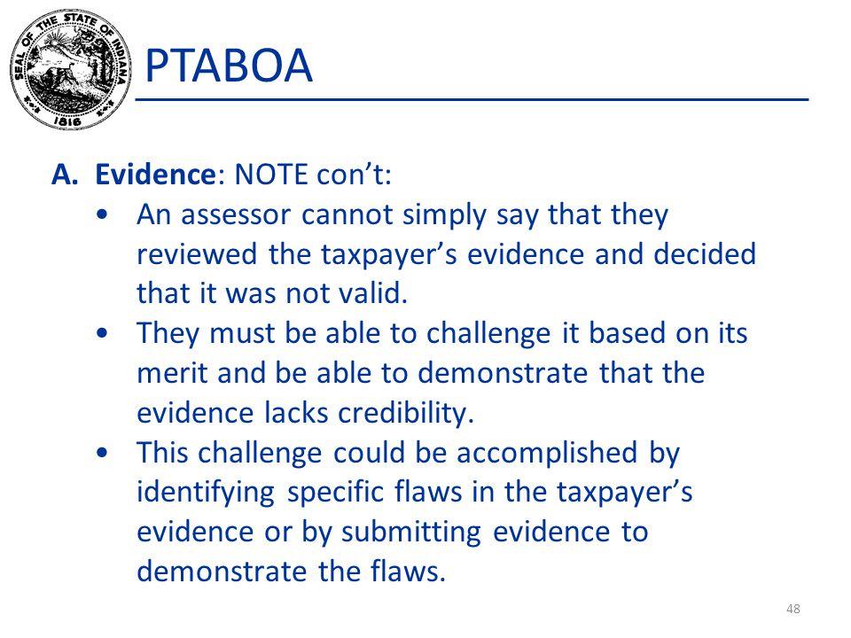 PTABOA Evidence: NOTE con't: