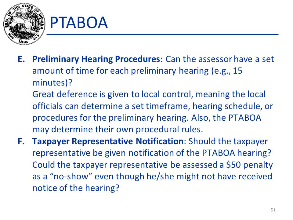 PTABOA Preliminary Hearing Procedures: Can the assessor have a set amount of time for each preliminary hearing (e.g., 15 minutes)