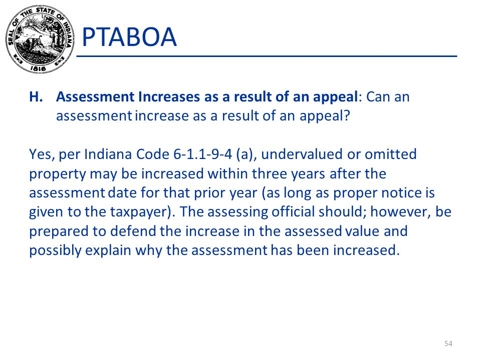 PTABOA Assessment Increases as a result of an appeal: Can an assessment increase as a result of an appeal