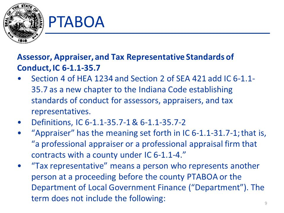 PTABOA Assessor, Appraiser, and Tax Representative Standards of Conduct, IC 6-1.1-35.7.