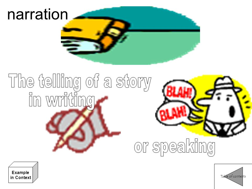 narration The telling of a story in writing or speaking Example