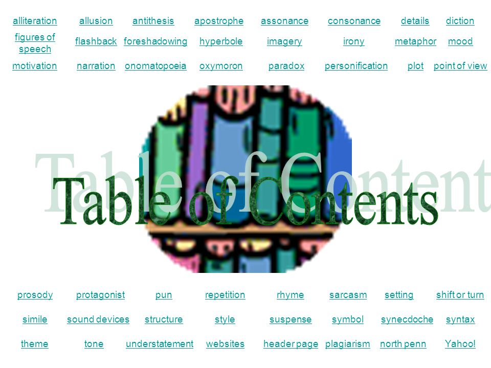 Table of Contents alliteration allusion antithesis apostrophe