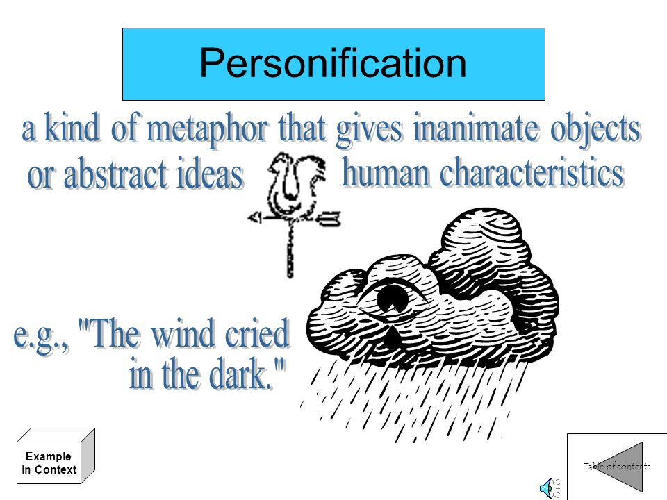 Personification a kind of metaphor that gives inanimate objects