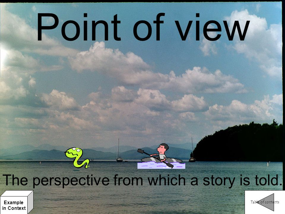 The perspective from which a story is told.