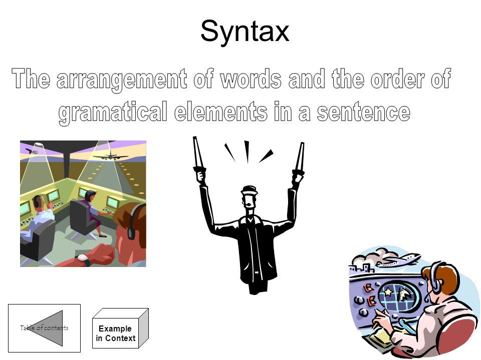 Syntax The arrangement of words and the order of