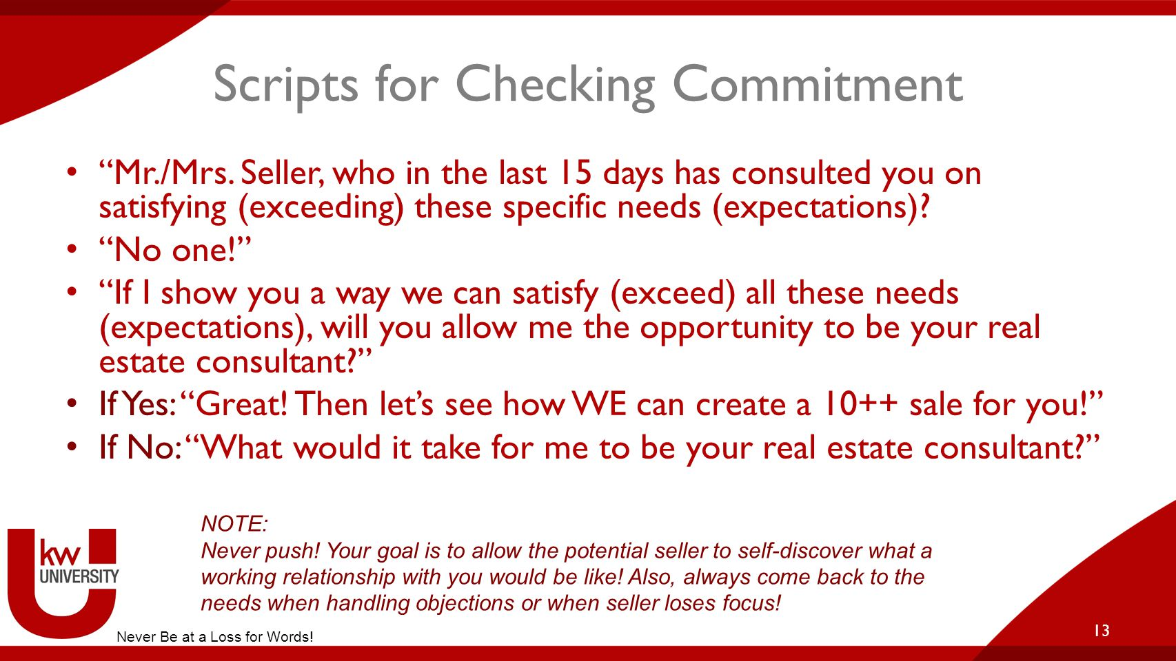 Scripts for Checking Commitment