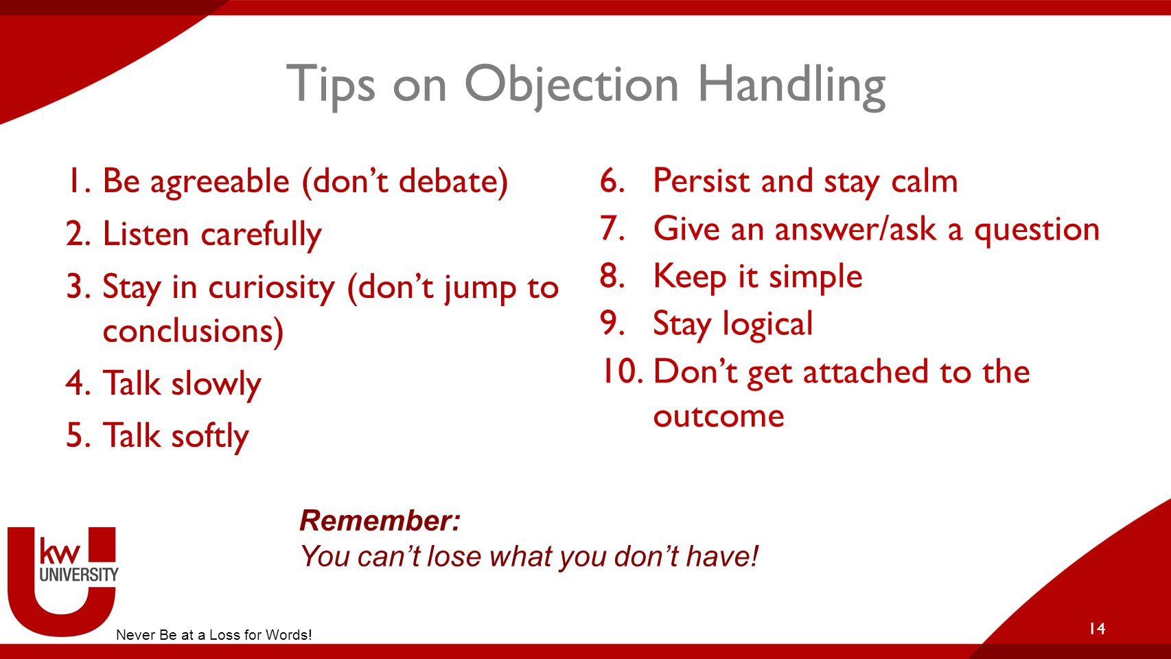 Tips on Objection Handling