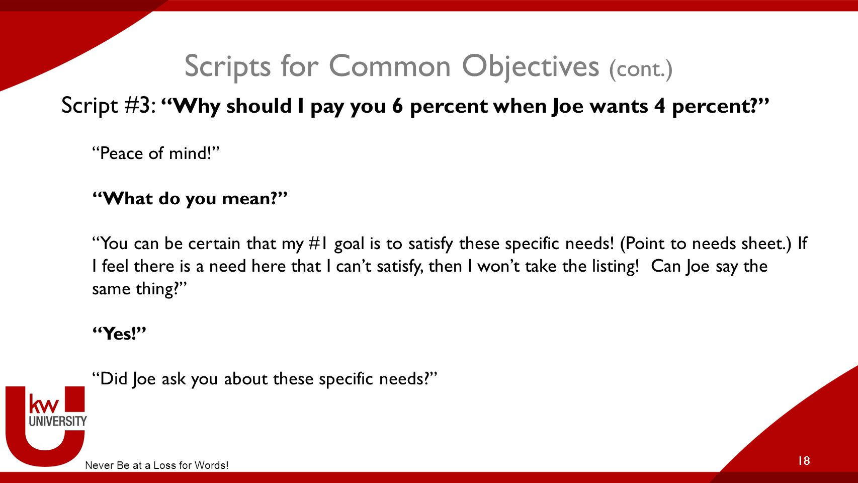 Scripts for Common Objectives (cont.)