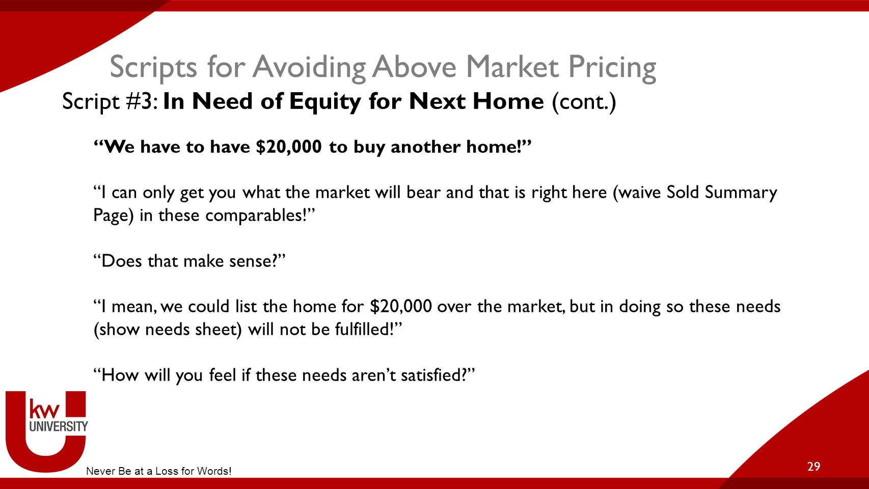 Scripts for Avoiding Above Market Pricing