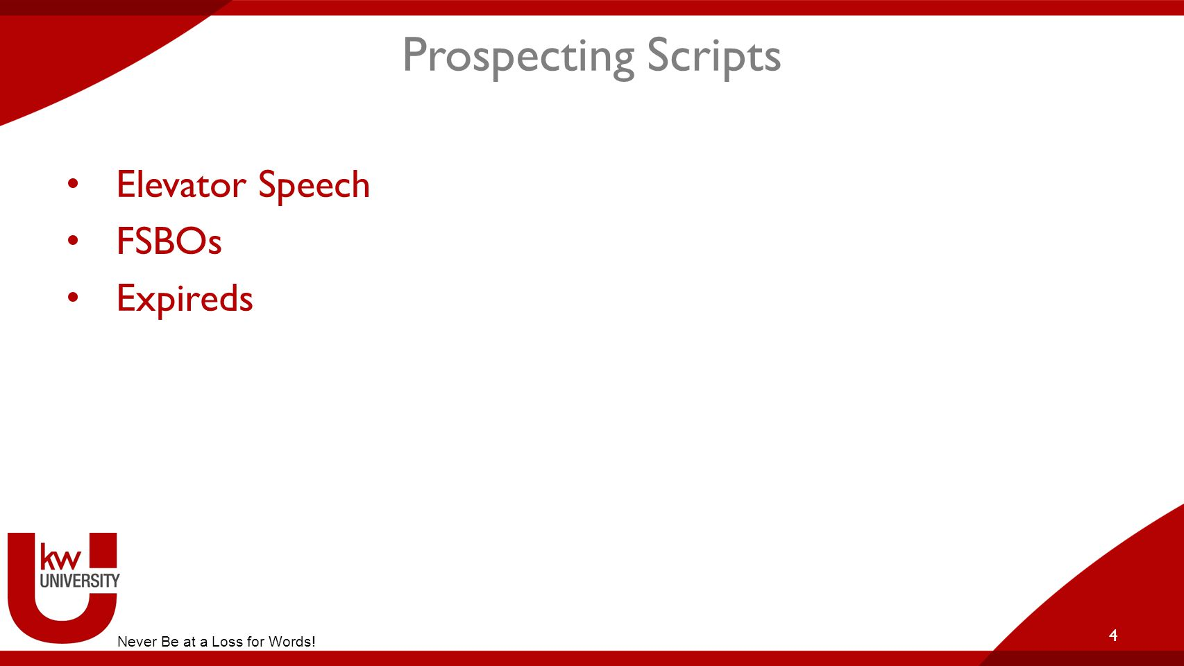 Prospecting Scripts Elevator Speech FSBOs Expireds