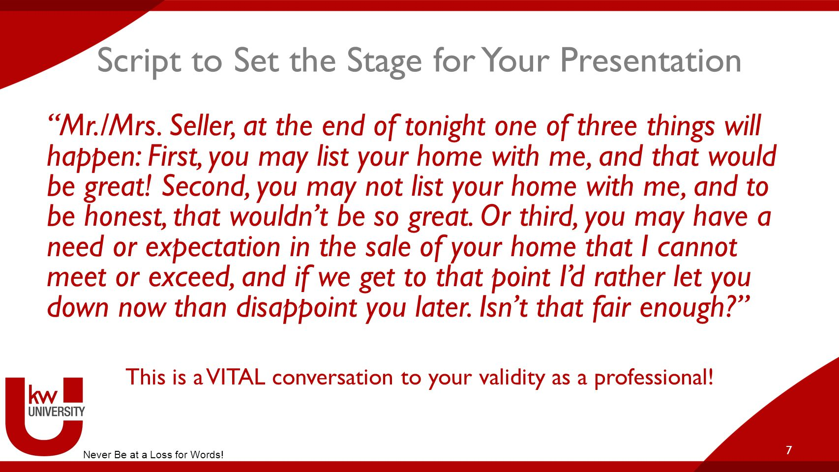 Script to Set the Stage for Your Presentation
