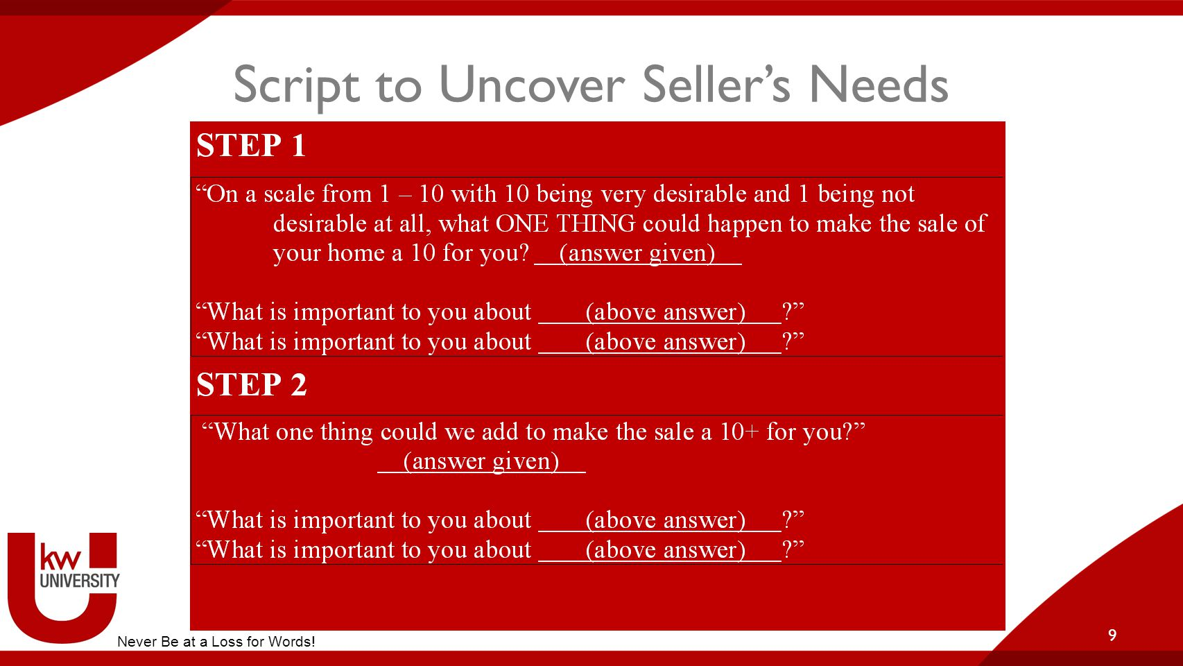 Script to Uncover Seller's Needs