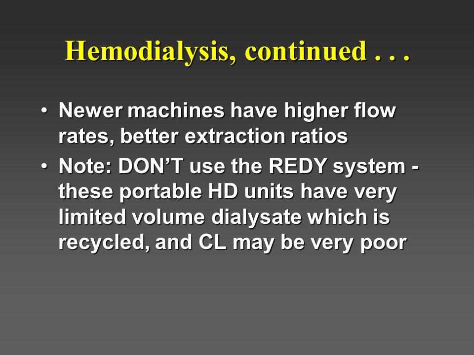 Hemodialysis, continued . . .