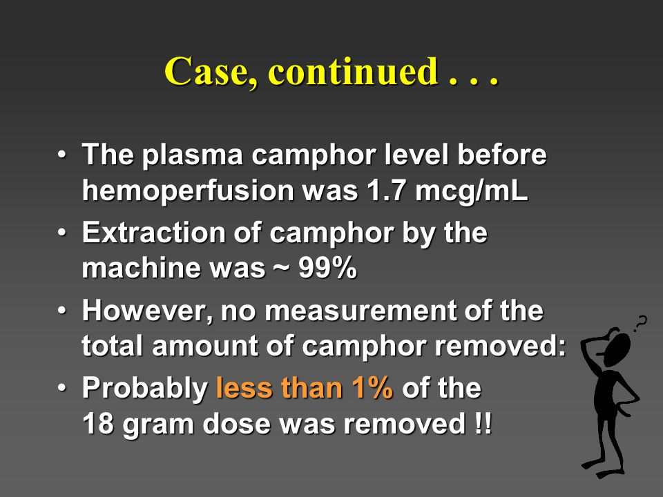 Case, continued . . . The plasma camphor level before hemoperfusion was 1.7 mcg/mL. Extraction of camphor by the machine was ~ 99%