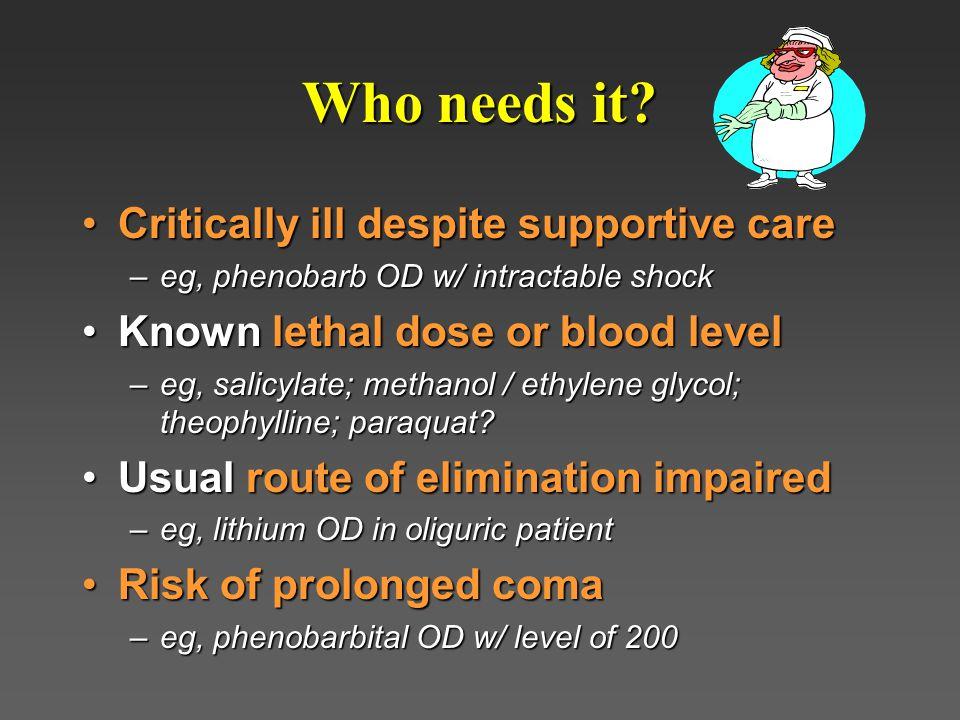 Who needs it Critically ill despite supportive care