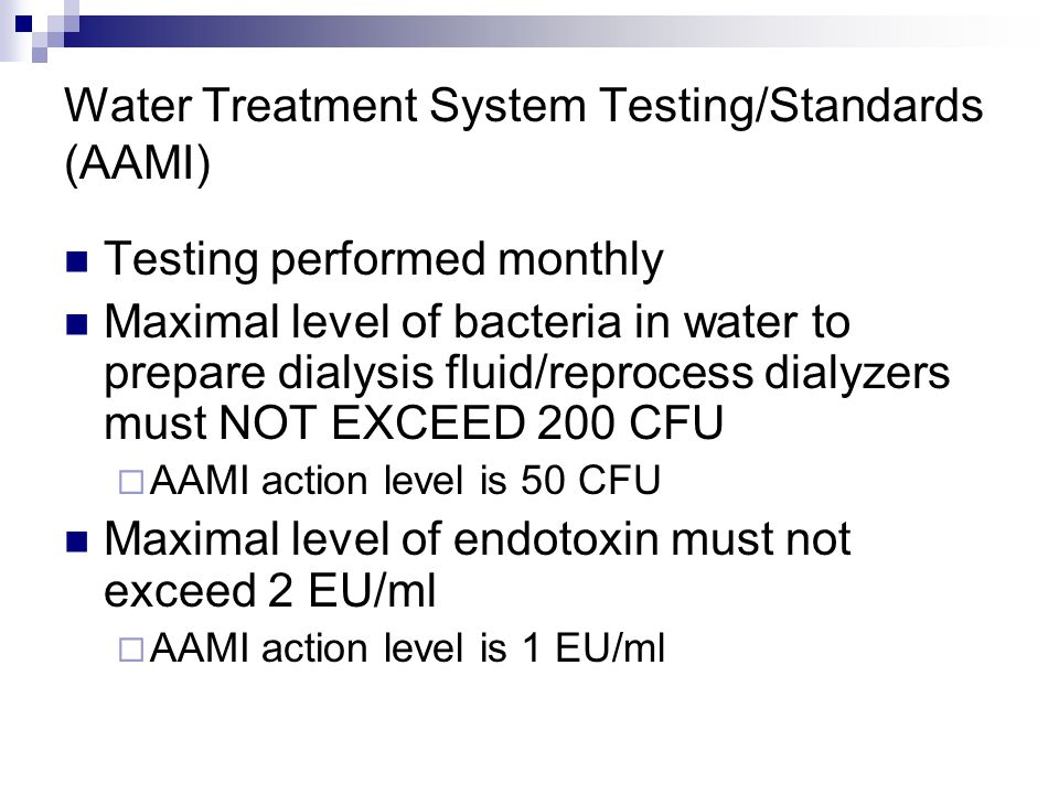 Water Treatment System Testing/Standards (AAMI)