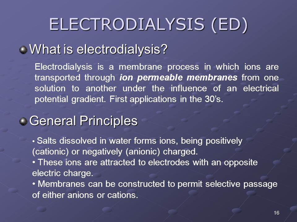 ELECTRODIALYSIS (ED) What is electrodialysis General Principles
