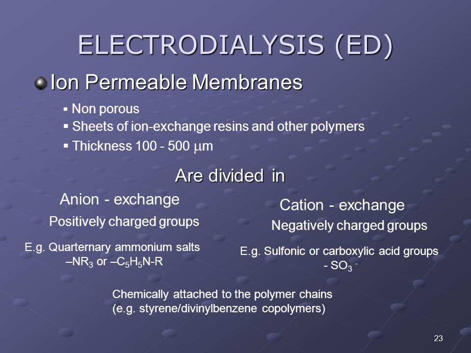 ELECTRODIALYSIS (ED) Ion Permeable Membranes Are divided in