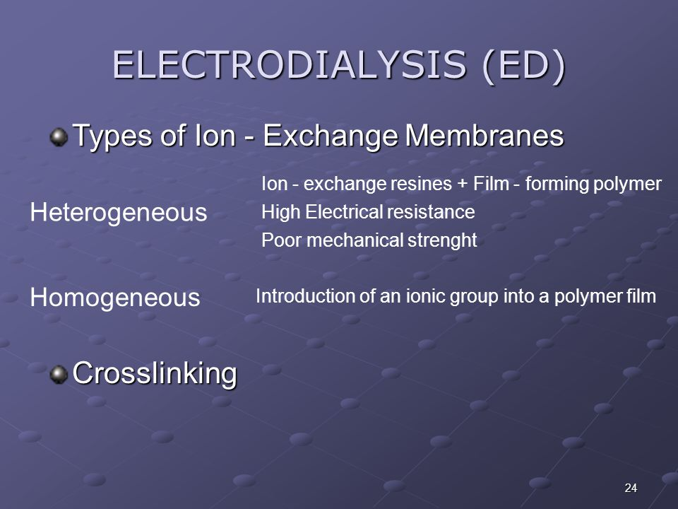 ELECTRODIALYSIS (ED) Types of Ion - Exchange Membranes Crosslinking