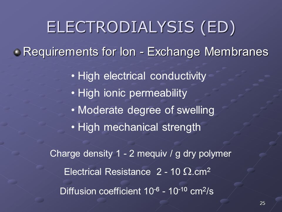 ELECTRODIALYSIS (ED) Requirements for Ion - Exchange Membranes