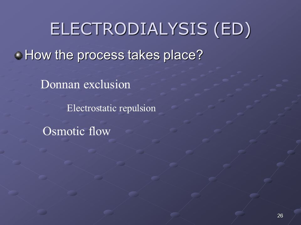 ELECTRODIALYSIS (ED) How the process takes place Donnan exclusion