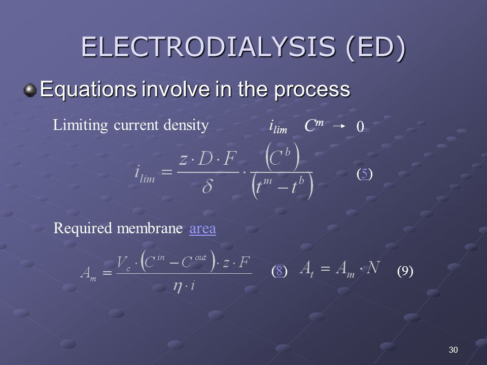 ELECTRODIALYSIS (ED) Equations involve in the process Cm