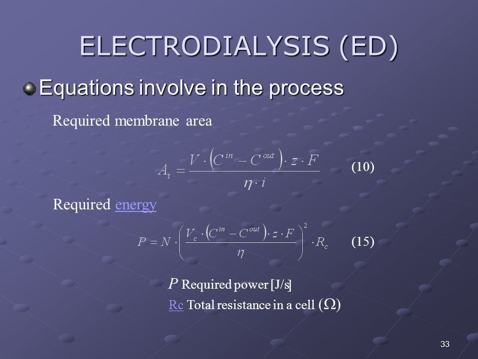 ELECTRODIALYSIS (ED) Equations involve in the process
