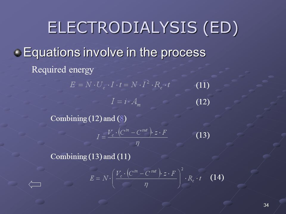 ELECTRODIALYSIS (ED) Equations involve in the process Required energy