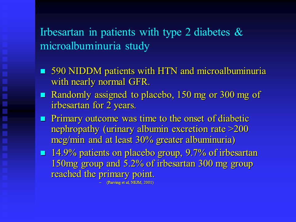 Irbesartan in patients with type 2 diabetes & microalbuminuria study
