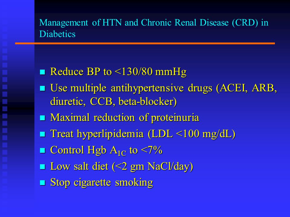Management of HTN and Chronic Renal Disease (CRD) in Diabetics