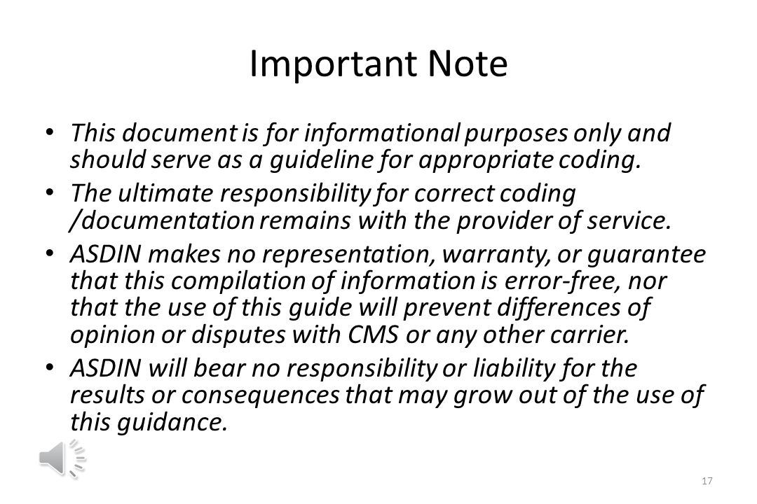 Important Note This document is for informational purposes only and should serve as a guideline for appropriate coding.