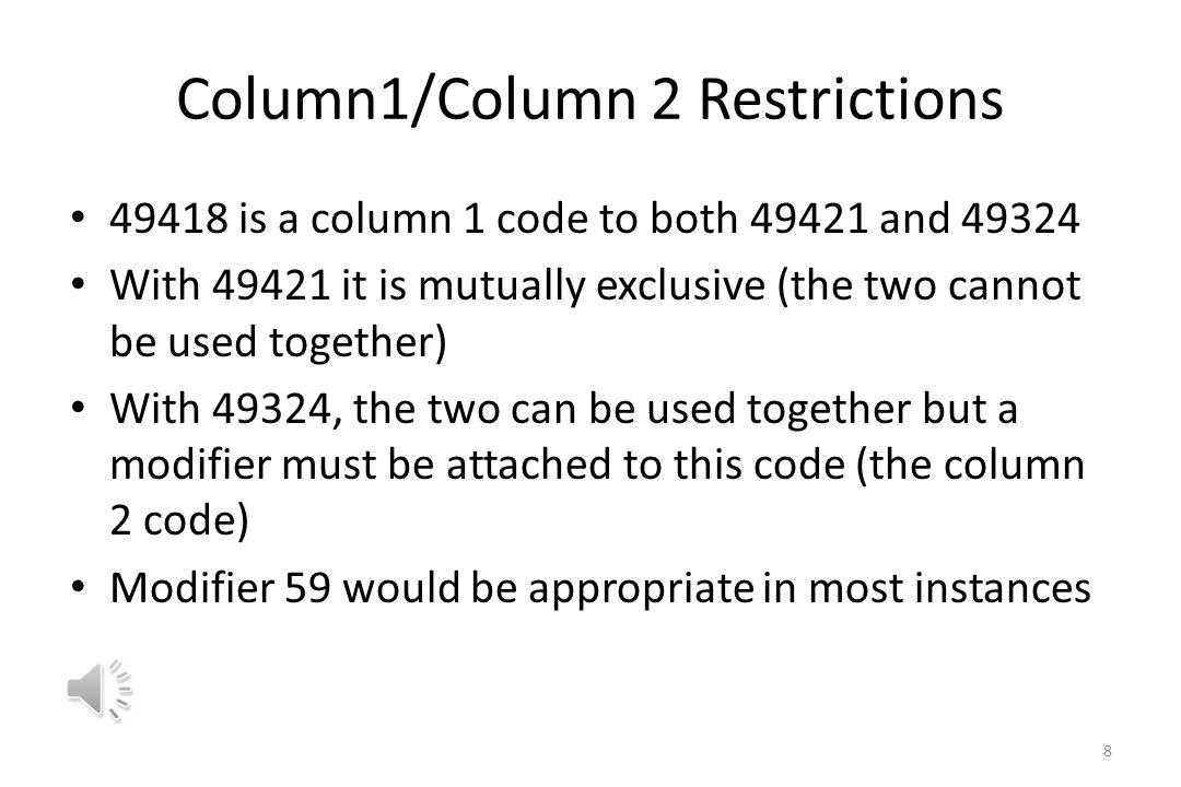 Column1/Column 2 Restrictions