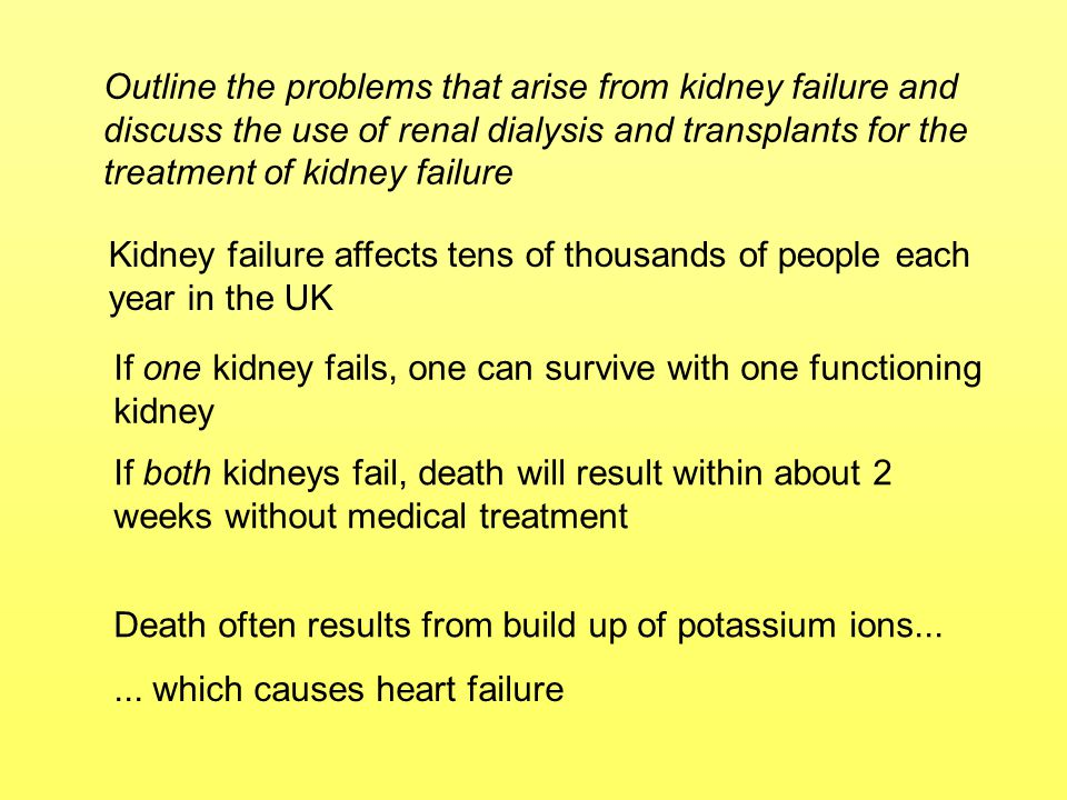 Outline the problems that arise from kidney failure and discuss the use of renal dialysis and transplants for the treatment of kidney failure