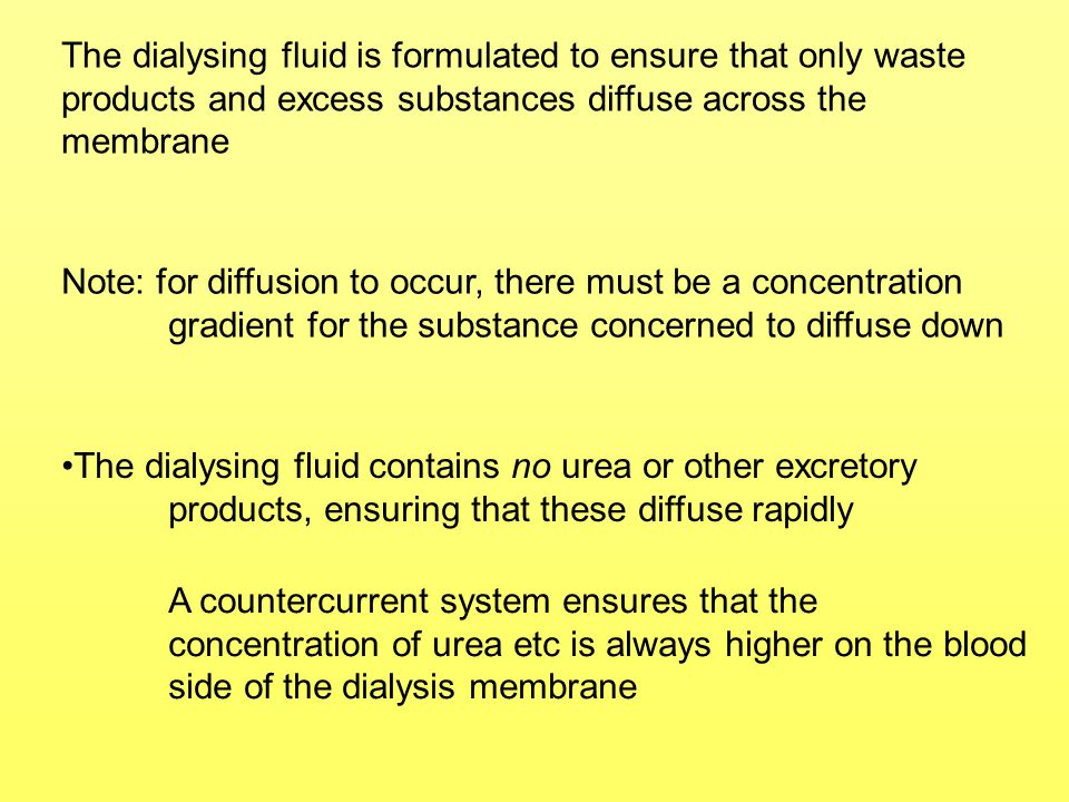 The dialysing fluid is formulated to ensure that only waste products and excess substances diffuse across the membrane