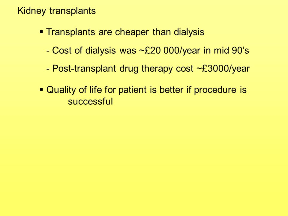 Kidney transplants Transplants are cheaper than dialysis. - Cost of dialysis was ~£20 000/year in mid 90's.