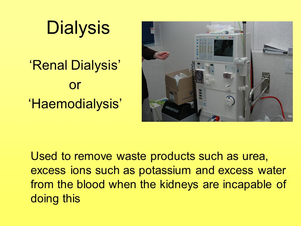 'Renal Dialysis' or 'Haemodialysis'