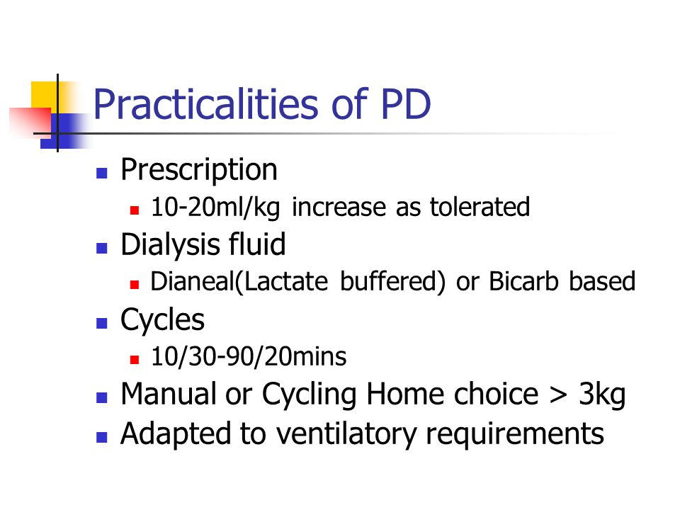 Practicalities of PD Prescription Dialysis fluid Cycles