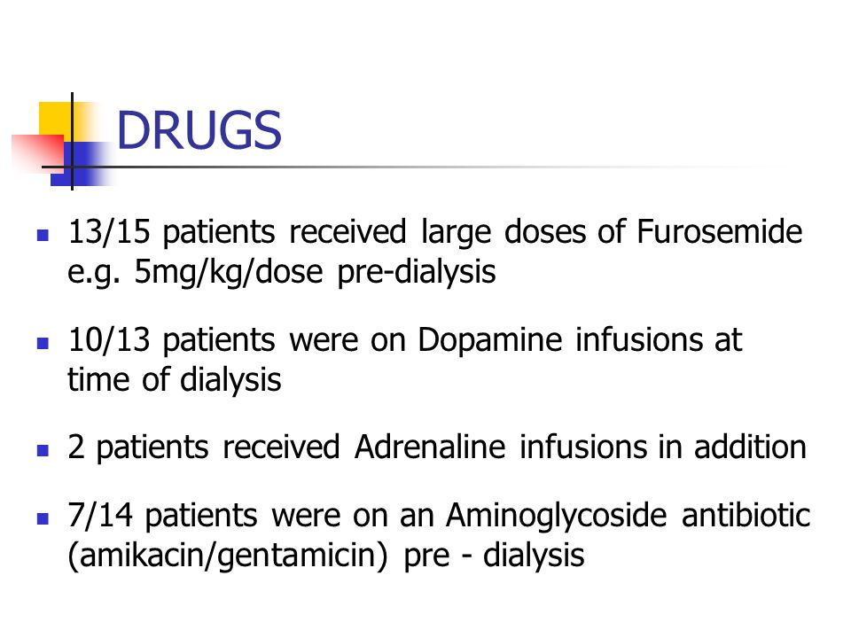 DRUGS 13/15 patients received large doses of Furosemide e.g. 5mg/kg/dose pre-dialysis. 10/13 patients were on Dopamine infusions at time of dialysis.