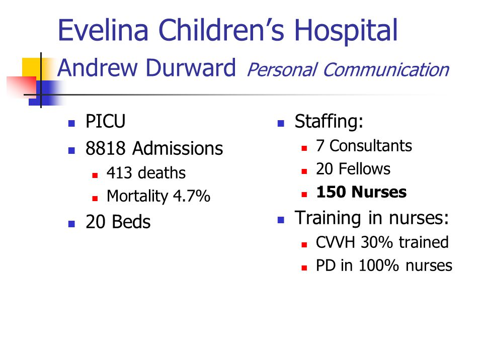 Evelina Children's Hospital Andrew Durward Personal Communication