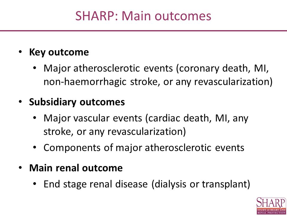 SHARP: Main outcomes Key outcome
