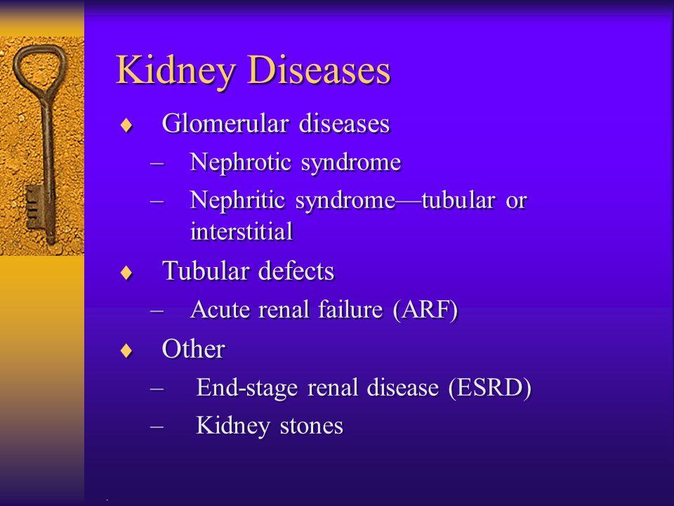 Kidney Diseases Glomerular diseases Tubular defects Other