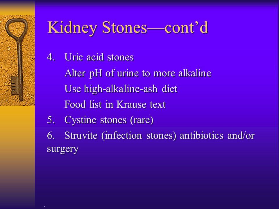 Kidney Stones—cont'd 4. Uric acid stones