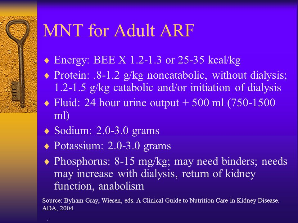 MNT for Adult ARF Energy: BEE X 1.2-1.3 or 25-35 kcal/kg