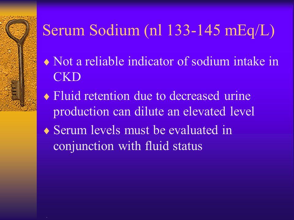 Serum Sodium (nl 133-145 mEq/L)